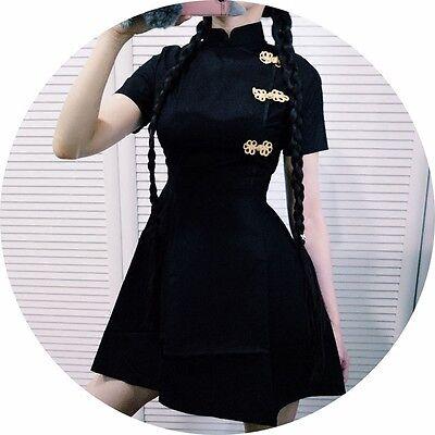 Girl Harajuku Vintage Gothic China Loli Black Slim Chinese Style Cheongsam - Gothic Girl