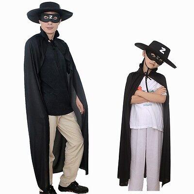 Kids Adults Black Superhero Zorro Cape Mask Cap Set for Men  (Superhero Masks For Adults)