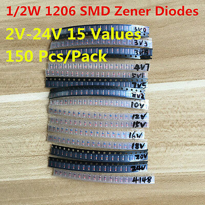 150pc 15 Values 0.5w 12w 2v-24v 1206 Smd Zener Diode Diodes Assorted Kit Ll34
