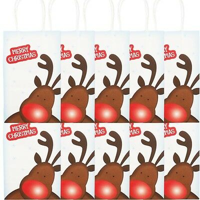 Paper Bag Reindeer (10 x Christmas Gift Bag Blue Reindeer Merry Christmas Paper Gift Bags)