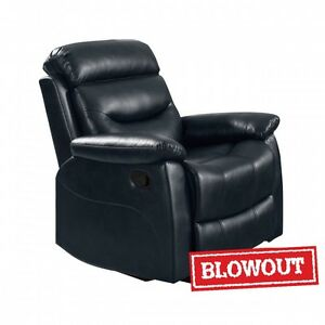 Reclining Chair - Available in Black or Dark Brown Leatherette