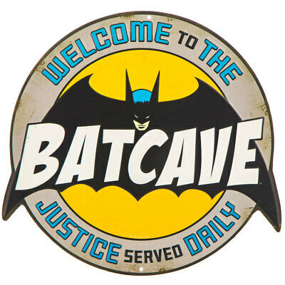 Batman Batcave Embossed Die Cut Metal Sign Wall Art Home Decoration Media Room