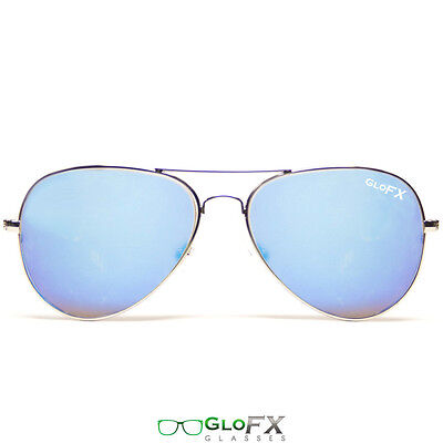 GloFX Metal Pilot Aviator Style Diffraction Glasses – Blue Mirror Rave Costume