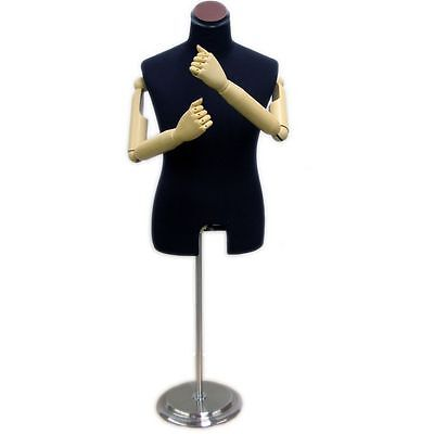Mn-204 Black Jersey Male Dress Form Mannequin Posable Articulate Armsfingers
