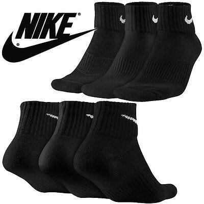 NIKE 6 PAIR 6 PACK NEW SOCKS QUARTER BLACK MEN'S SIZE 8-12 PERFORMANCE CUSHIONED