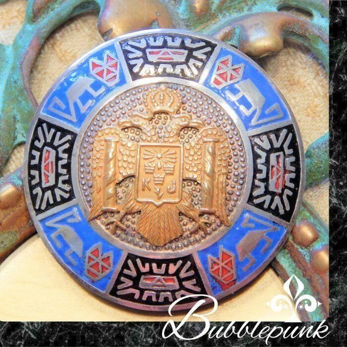 SCOTTISH RITE Masonic Knights Templar Solid 18k Gold & Sterling Silver Pin 12.6g