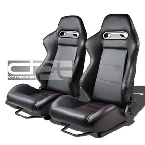 PAIR FULLY RECLINABLE JDM TYPE-R BLACK PVC LEATHER BUCKET RACING SEATS+SLIDERS