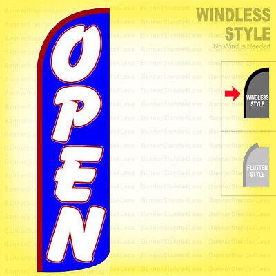 Open - Windless Swooper Flag 3x11.5 Ft Tall Feather Banner Sign Bq