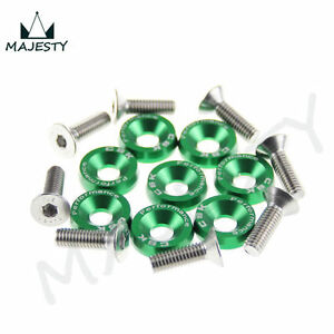 8PCS-M6-WIDE-HEX-SCREW-BOLT-BUMPER-FENDER-WASHER-ANODIZED-ALUMINUM-GREEN