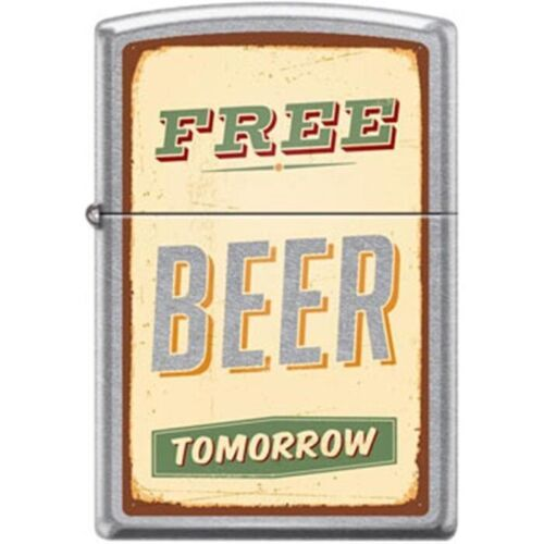 Zippo Lighter - Free Beer Tomorrow Street Chrome - 854722