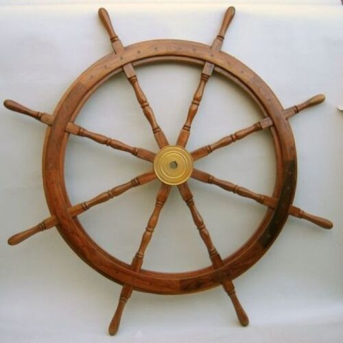 "48"" WOODEN SHIP WHEEL ~ BOAT~ PIRATE ~ NAUTICAL ~ HOME DECOR ~ TEAK WOOD WHEEL"