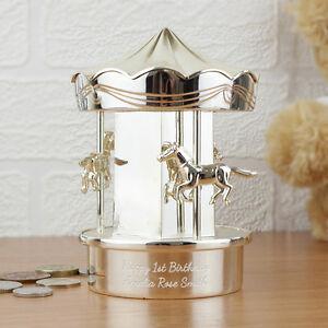 PERSONALISED Silver Carousel Moneybox Girl Boy Baby Christening Naming Day Gift