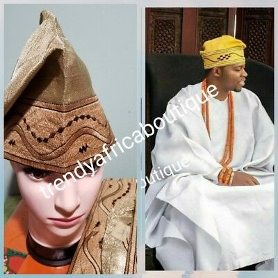 Gold Nigerian Agbada Men-cap made with Aso-oke fabric with embroidery design.