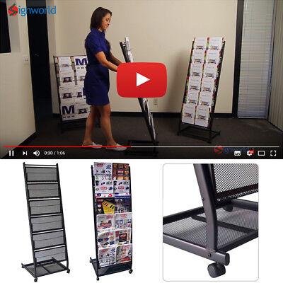 6 Pocket Mesh Magazine Rack Mobile Stand Steel Shelf Book Home Office Wwheels