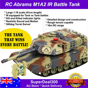 RC Abrams M1A2 Tank, Large1:16 scale, IR equipped for Tank vs Tank Battles