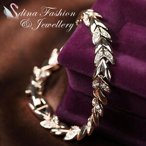 18K-Rose-Gold-Plated-Swarovski-Crystals-Stylish-Wheat-Sheaf-Bracelet-Jewellery
