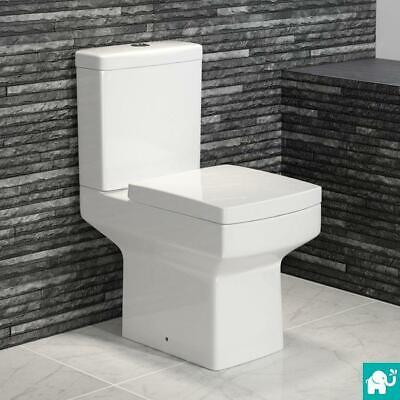 Modern Close Coupled Square Bathroom Toilet & Seat | Gloss White Ceramic
