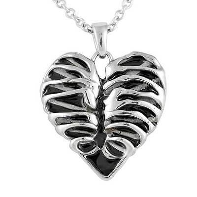 Controse Heart Rib Cage Skeleton Blackened Steel Pendant Necklace CN108 Ribcage