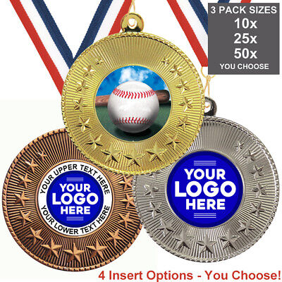 BASEBALL ROUNDERS MEDALS 50mm, PACK OF 10, RIBBONS, INSERTS or OWN LOGO & TEXT ()