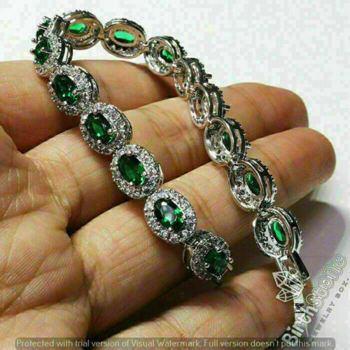 Sparkling Oval Emerald Bracelet Women Wedding Jewelry 14K White Gold Plated