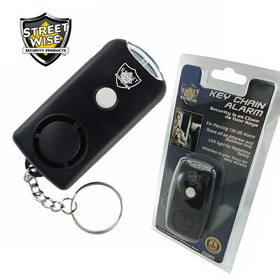 Streetwise KEYCHAIN ALARM with LED Light, 130dB Alarm Flashlight Security Safety