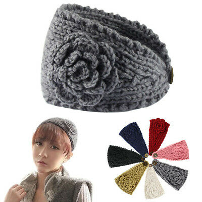 Women Crochet Knitted Flower Hairband Headband Fashion - Flower Crochet Headband