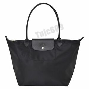 Authentic 100 Longchamp Le Pliage Large Neo Black Nylon Tote Bag for ... 2a4e5df77e66c