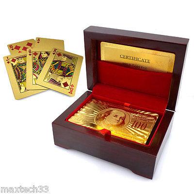 24K Gold Plated Playing Poker Cards & Mahogany Box New Same Day Shipping!!!