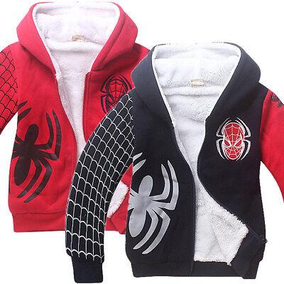 Children Boy Super Hero Spiderman Thicken Cotton Zipper Sweatshirt Jacket - Boy Super Hero