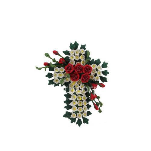Cross shape Handmade clay flowers wreath 12074