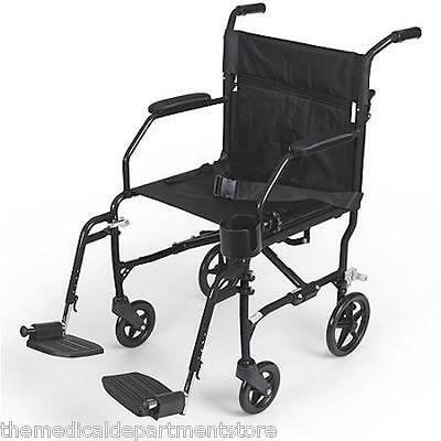 Medline Freedom Ultralight Transport Chair Wheelchair BLACK