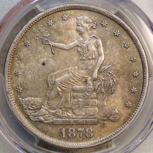 1878-S Trade Dollar, Choice Almost Uncirculated PCGS/CAC AU-58, Original Slider