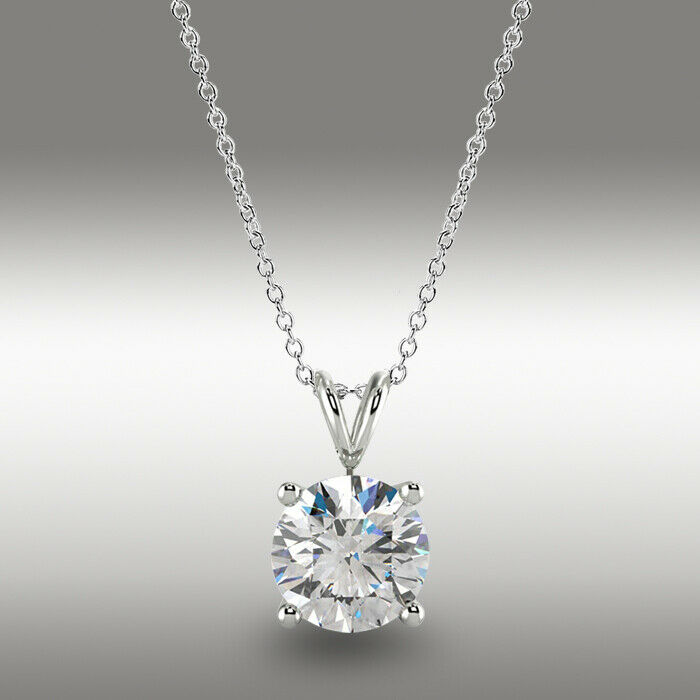 """3 Ct Round Cut Brown Solid 14k White Gold Solitaire Pendant 18/"""" Necklace"""