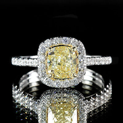 1.84ct GIA Cushion 14K White Gold Halo Ring Fancy Yellow/VS2 (5161373880)