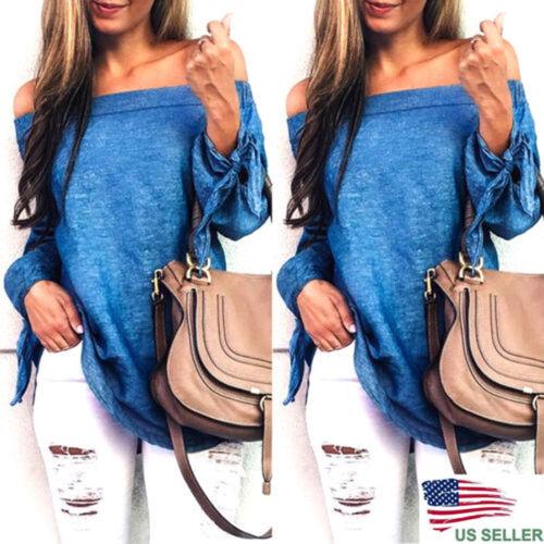 $4.22 - Fashion Women Ladies Summer Loose Casual Cotton Long Sleeve Shirt Tops Blouse US