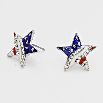 Star Shaped USA American Flag Colors Post Earrings Costume Jewelry - Star Shaped Costume