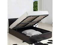 Double leather storage bed & matress