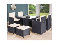 9PC Cube Rattan 8 Seater Garden Set - Black (unbox or rarely used)