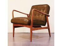 Brand New Shoreditch Vintage Tan Brown Real Leather Mid Century Armchair - Button Detail