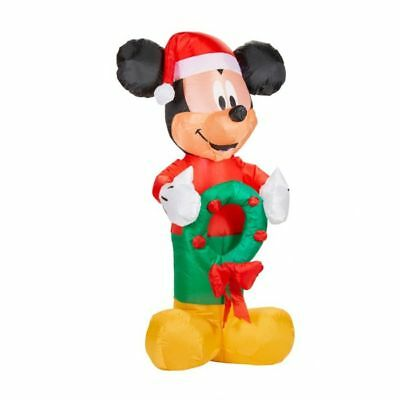 DISNEY MICKEY MOUSE w/ WREATH CHRISTMAS AIRBLOWN INFLATABLE LED LIGHTS UP DECOR