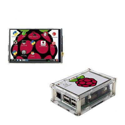 "3.5"" Touch Screen Display Monitor LCD + Case + Heatsink for Raspberry Pi 3 B+"