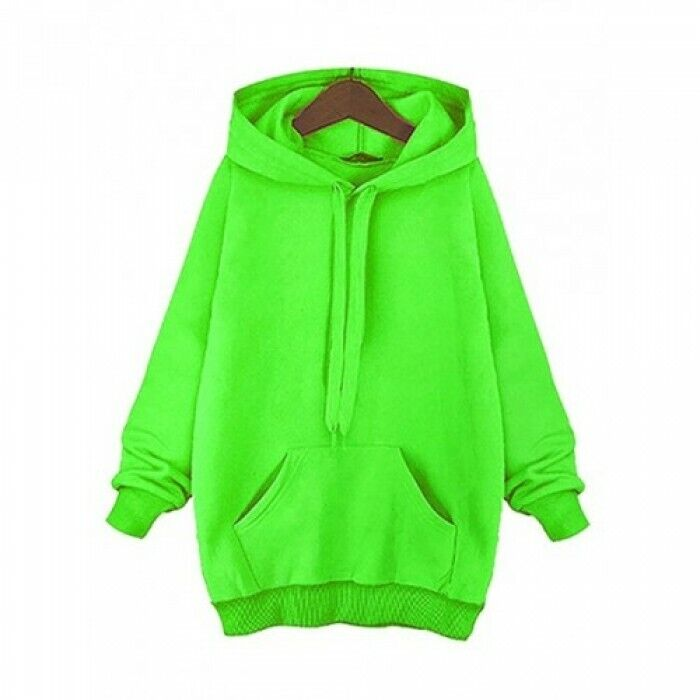Sweatshirt Damen Pullover Kapuze Oversize Pulli Kapuzenpullover Neon Gelb Warm ♥