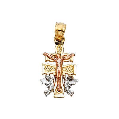 Caravaca Cross 14k Solid Three Tone Gold Pendant - Caravaca Cross Pendant