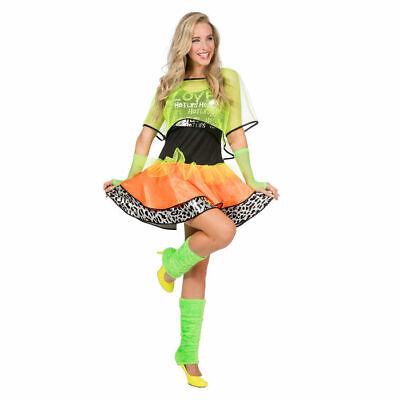 80er Jahre Kostüm Kleid Damenkostüm Neonkleid 80s Orange-Grün - Kostüme Mit Grünem Kleid