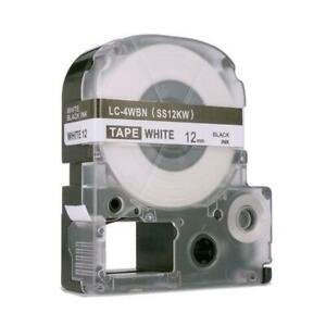 Weekly Promo! Epson LC-4WBN LabelWorks Standard LK Label Tape, 12mm, Black On White, SS12KW,  Compatible