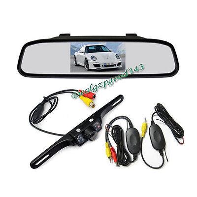 "4.3"" LCD Mirror Monitor + 7 LED IR Reversing Wireless Camera Car Rear View Kit"