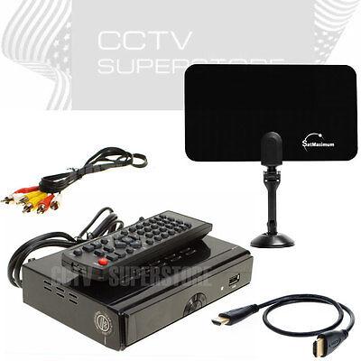 Hd Tv Digital Converter Box Pvr Flat Indoor Tv Antenna 25...