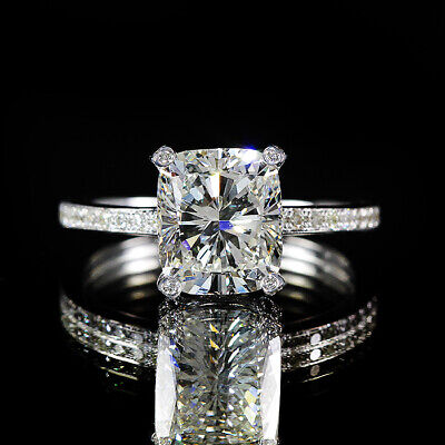 2.82ct Cushion Diamond Vintage Style Pave GIA Engagement Ring H/VS2 18K Gold