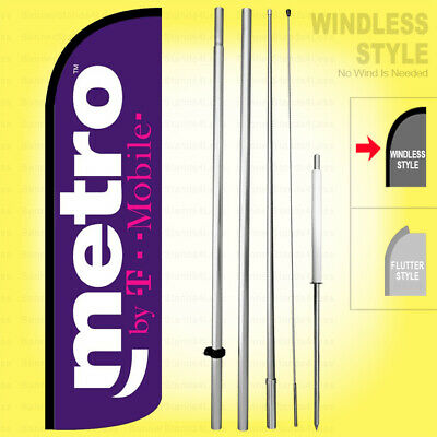 Metro By T-mobile - Windless Swooper Flag Kit 15 Feather Banner Sign Pq-h