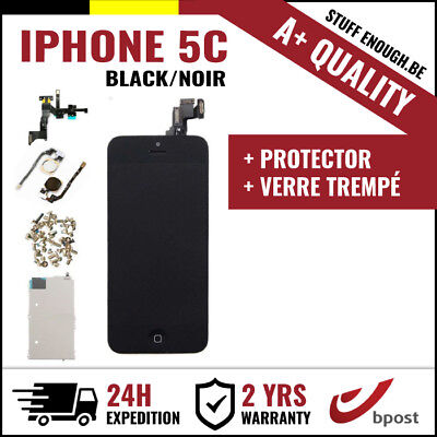 A+ LCD TOUCH SCREEN SCHERM ÉCRAN ASSEMBLY BLACK NOIR+VERRE TREMPÉ FOR IPHONE 5C
